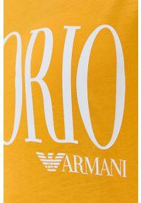 Emporio Armani Underwear - Emporio Armani - Sukienka plażowa. Okazja: na plażę. Kolor: żółty. Materiał: dzianina. Wzór: nadruk. Typ sukienki: proste. Styl: casual