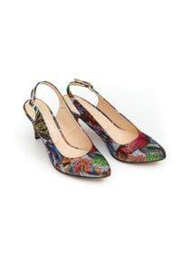 Zapato - kolorowe szpilki bez pięty - skóra naturalna - model 1367/1 - kolor motyl. Materiał: skóra. Wzór: kolorowy. Obcas: na szpilce