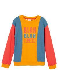 Bluza dziewczęca z bawełny organicznej bonprix czerwony sygnałowy - niebieski dżins - miodowy. Kolor: czerwony. Materiał: bawełna. Wzór: nadruk