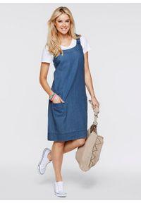 """Sukienka bawełniana dżinsowa ogrodniczka bonprix niebieski """"bleached"""". Okazja: do pracy, na spotkanie biznesowe. Kolor: niebieski. Materiał: bawełna. Styl: biznesowy"""