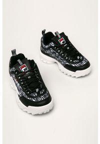 Czarne buty sportowe Fila z okrągłym noskiem, z cholewką
