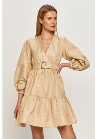 Beżowa sukienka Pinko mini, rozkloszowana, klasyczna, na co dzień