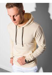 Ombre Clothing - Bluza męska z kapturem B1154 - kremowa - XXL. Okazja: na co dzień. Typ kołnierza: kaptur. Kolor: kremowy. Materiał: bawełna, poliester. Styl: klasyczny, casual