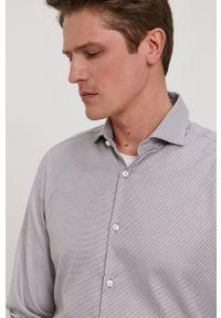 Hugo - Koszula. Typ kołnierza: kołnierzyk włoski. Kolor: szary. Materiał: tkanina