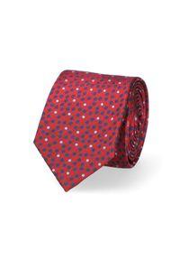Lancerto - Krawat Czerwony w Kropki. Kolor: czerwony. Materiał: tkanina, jedwab. Wzór: kropki. Styl: elegancki