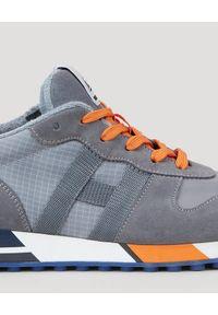 Hogan - HOGAN - Szare sneakersy H383. Nosek buta: okrągły. Zapięcie: sznurówki. Kolor: szary. Materiał: guma, materiał #9