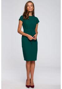 e-margeritka - Sukienka ołówkowa elegancka z paskiem zielona - 2xl. Okazja: do pracy. Kolor: zielony. Materiał: wiskoza, materiał, elastan, tkanina, poliester. Sezon: lato. Typ sukienki: ołówkowe. Styl: elegancki
