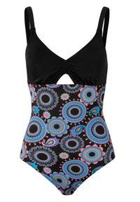 Kostium kąpielowy shape Level 1, przyjazny dla środowiska bonprix czarno-różowy w graficzny wzór. Kolor: czarny. Materiał: materiał