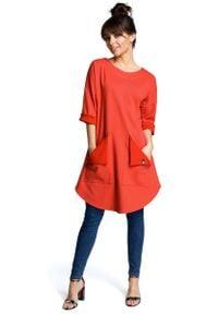 MOE - Czerwona Codzienna Trapezowa Sukienka Tunika z Kieszeniami. Okazja: na co dzień. Kolor: czerwony. Materiał: wiskoza, bawełna, poliester. Typ sukienki: proste, trapezowe. Styl: casual