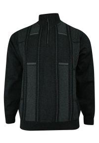 Szary sweter Kings w geometryczne wzory, na zimę, ze stójką, klasyczny
