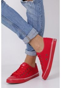 Big-Star - czerwone trampki sznurowane z nitami big star dd274614. Kolor: czerwony. Materiał: materiał #1