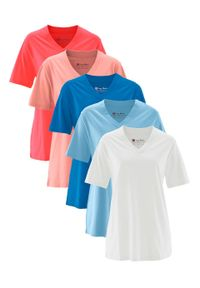 Długi shirt z dekoltem w szpic (5 sztuk), krótki rękaw bonprix jasny koralowy + koralowy + jasnoniebieski + lazurowy + biały. Kolor: pomarańczowy. Długość rękawa: krótki rękaw. Długość: krótkie