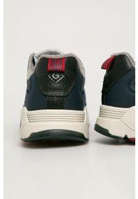 Niebieskie sneakersy GANT na sznurówki, z okrągłym noskiem, z cholewką
