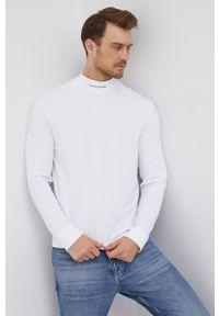 Calvin Klein Jeans - Longsleeve. Okazja: na co dzień. Kolor: biały. Materiał: bawełna, dzianina. Długość rękawa: długi rękaw. Wzór: gładki. Styl: casual