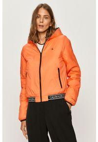 Pomarańczowa kurtka Calvin Klein Jeans z kapturem, na co dzień