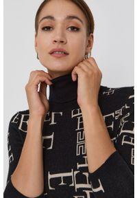 Elisabetta Franchi - Sukienka. Typ kołnierza: golf. Kolor: czarny. Materiał: dzianina. Długość rękawa: długi rękaw. Typ sukienki: dopasowane