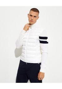 MONCLER - Biała bluza z ociepleniem. Kolor: biały. Materiał: materiał, wełna. Długość: długie. Wzór: paski