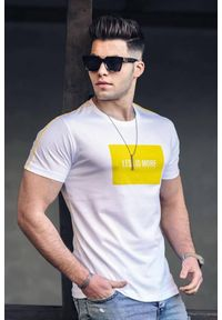 Biały t-shirt IVET na co dzień, z nadrukiem, casualowy