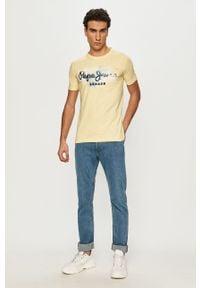 Pepe Jeans - T-shirt Golders. Kolor: żółty. Materiał: dzianina, bawełna. Wzór: nadruk #3