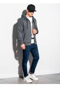 Ombre Clothing - Bluza męska rozpinana z kapturem B1074 - szary melanż - XL. Typ kołnierza: kaptur. Kolor: szary. Materiał: poliester, tkanina, bawełna. Wzór: melanż