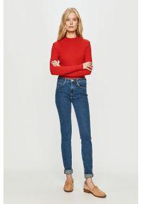 Czerwony sweter Noisy may długi, z długim rękawem