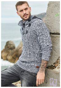 Sweter z kapturem bonprix Sweter z kapt czar.mel. Typ kołnierza: kaptur. Kolor: czarny. Materiał: akryl, dzianina, materiał, bawełna. Wzór: ze splotem, melanż