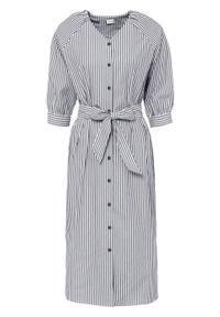 Niebieska sukienka bonprix w paski, koszulowa