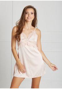 Saintmiss - Koszula nocna z kokardą na plecach // Rosalie - L, Różowy. Kolor: różowy. Materiał: koronka, materiał. Długość: krótkie. Wzór: kropki, koronka