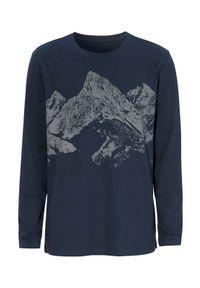 Niebieski sweter Cellbes z długim rękawem, długi, z nadrukiem, z dekoltem woda
