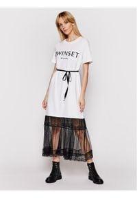 TwinSet Sukienka codzienna 211TT2290 Biały Regular Fit. Okazja: na co dzień. Kolor: biały. Typ sukienki: proste. Styl: casual