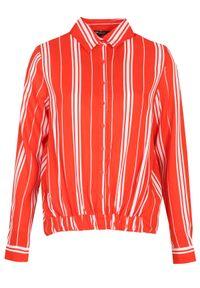 Pomarańczowa bluzka TOP SECRET elegancka, z koszulowym kołnierzykiem, w paski, na zimę