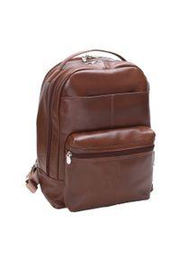 Skórzany męski plecak na laptopa MCKLEIN Parker 88554 brązowy. Kolor: brązowy. Materiał: skóra