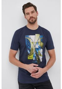 BOSS - Boss - T-shirt Boss Athleisure. Okazja: na co dzień. Kolor: niebieski. Wzór: nadruk. Styl: casual