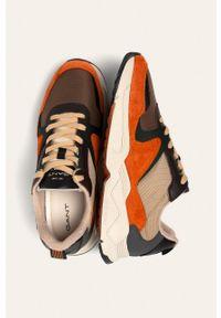 Pomarańczowe sneakersy GANT na sznurówki, z cholewką