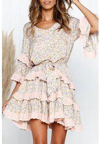 Wielokolorowa sukienka mini IVET casualowa, z długim rękawem