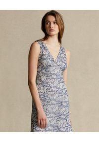 Ralph Lauren - RALPH LAUREN - Sukienka midi w kwiaty. Typ kołnierza: polo. Kolor: biały. Wzór: kwiaty. Typ sukienki: rozkloszowane. Długość: midi