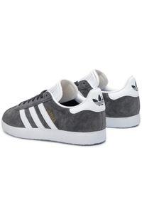 Szare półbuty Adidas z cholewką, w paski, z paskami #8