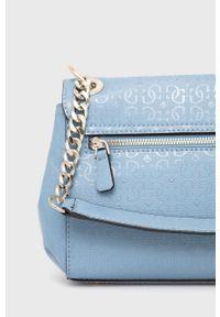 Guess - Torebka. Kolor: niebieski. Rodzaj torebki: na ramię