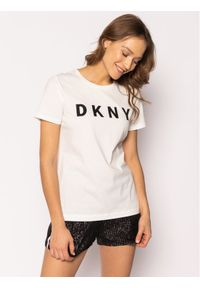Biały t-shirt DKNY
