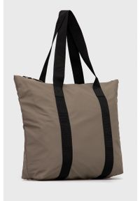 Rains - Torebka 1225 Tote Bag Rush. Kolor: beżowy. Rodzaj torebki: na ramię