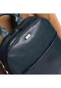 Wittchen - Męski plecak na laptopa skórzany. Kolor: niebieski. Materiał: skóra. Wzór: aplikacja, paski. Styl: casual