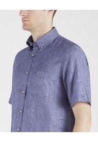 PAUL & SHARK - Niebieska lniana koszula. Kolor: niebieski. Materiał: len. Wzór: haft. Sezon: lato