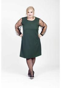 Zielona sukienka dla puszystych Moda Size Plus Iwanek na co dzień, na jesień, elegancka