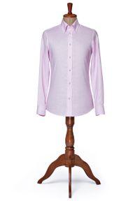 Różowa koszula Lancerto na lato, w kolorowe wzory, elegancka, button down