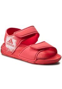 Czerwone sandały Adidas na rzepy, w paski, na lato