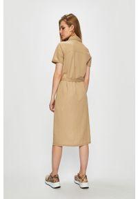 Beżowa sukienka Vila na co dzień, mini, casualowa, prosta