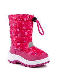 Różowe śniegowce Playshoes z aplikacjami, z cholewką