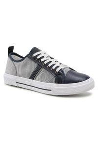 Trussardi Jeans - Trussardi Trampki 77A00331 Granatowy. Kolor: niebieski