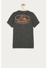 Czarny t-shirt Quiksilver z nadrukiem, casualowy, na co dzień