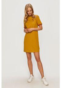 Oliwkowa sukienka Vans z krótkim rękawem, mini